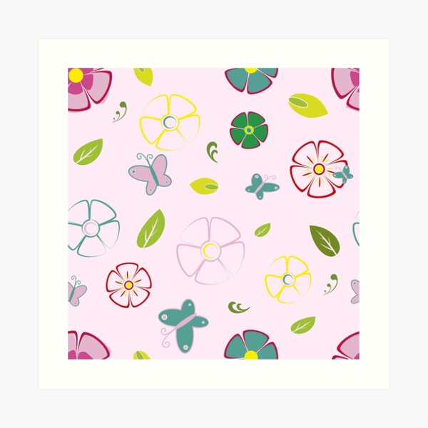 Garden flowers on pink Art Print