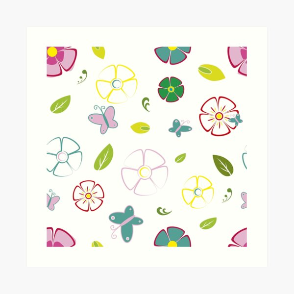 Garden flowers on white Art Print