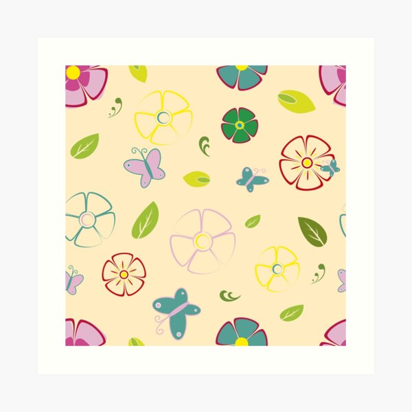 Garden flowers on yellow Art Print