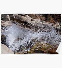 Water flowing over granite Poster