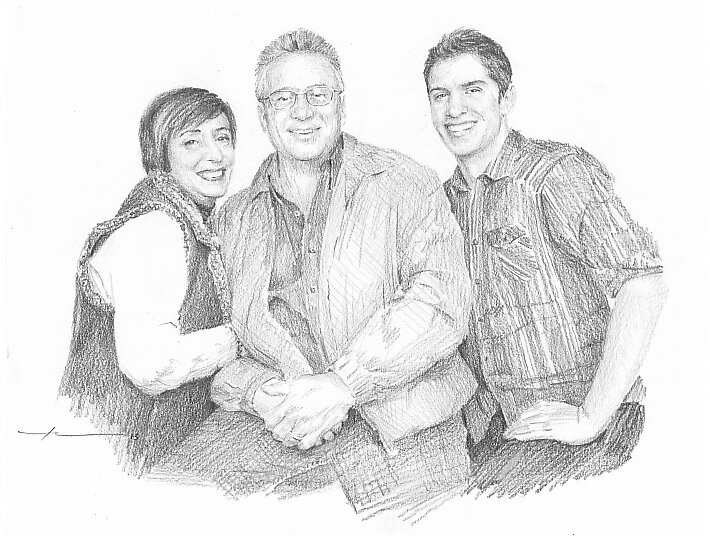 Happy family drawing by Mike Theuer