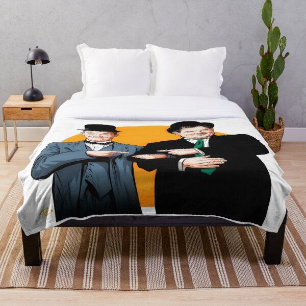 Laurel and Hardy - An illustration by Paul Cemmick Throw Blanket