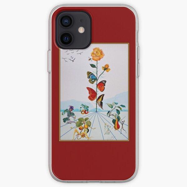 PAPILLON ROSE: impression de peinture abstraite Vintage Dali Coque souple iPhone