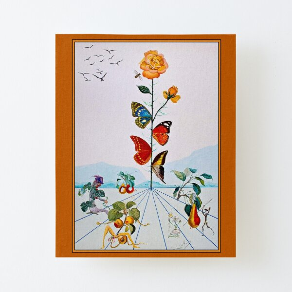 BUTTERFLY ROSE : Vintage Abstract Dali Painting Print Canvas Mounted Print