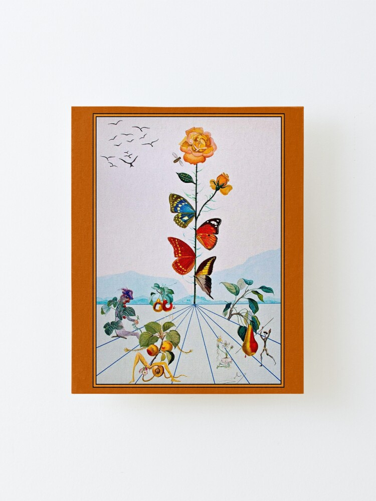 Alternate view of BUTTERFLY ROSE : Vintage Abstract Dali Painting Print Mounted Print