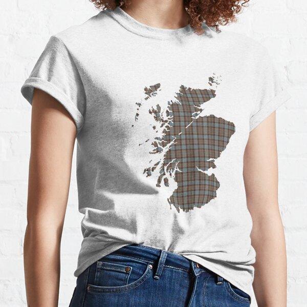 Scotland Map in Fraser Tartan Plaid Classic T-Shirt