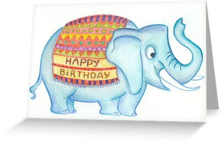 Birthday Elephant Greeting Cards By Sanne Thijs Redbubble