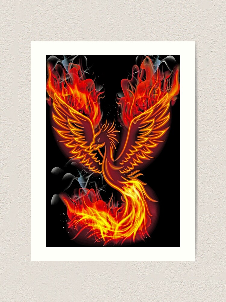 Phoenix Bird Legendary Fire Bird Rebirth Giant Wall Art Poster Print