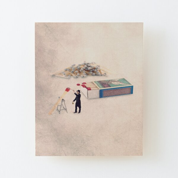 match illustration Wood Mounted Print