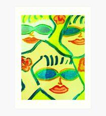 Yellow and Blue Sunglasses Rock!! Art Print