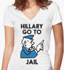 Hillary Clinton Go To Jail Women's Fitted V-Neck T-Shirt