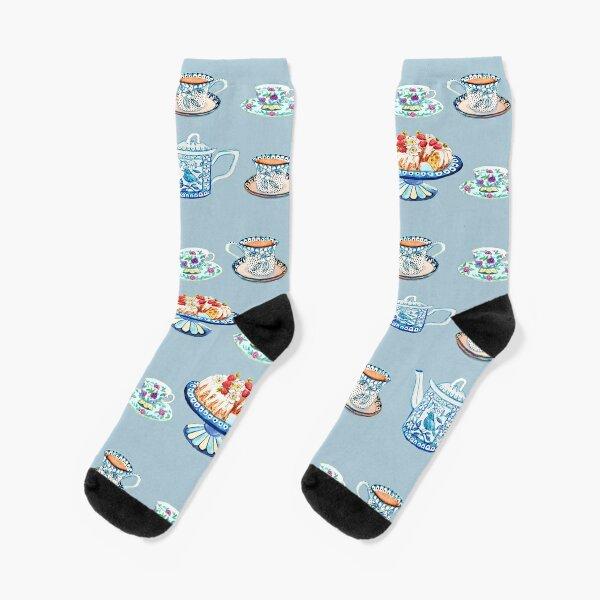 Jane Austen Tea and cake lovers in blue Socks