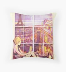 A Window to Paris Throw Pillow