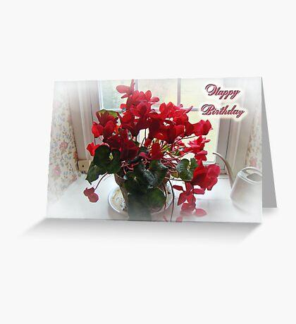 Happy Birthday Greeting Card - Red Cyclamen Greeting Card