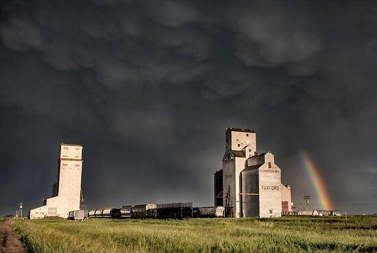 Prairie Grain Elevator in Saskatchewan Canada with storm clouds by pictureguy