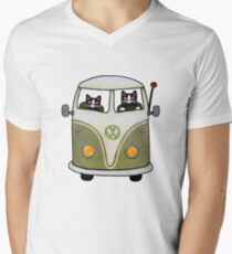 Two Cats in a Green Bus Men's V-Neck T-Shirt
