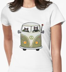 Two Cats in a Green Bus Womens Fitted T-Shirt
