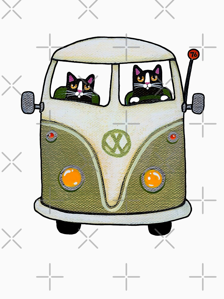 Two Cats in a Green Bus | Unisex T-Shirt