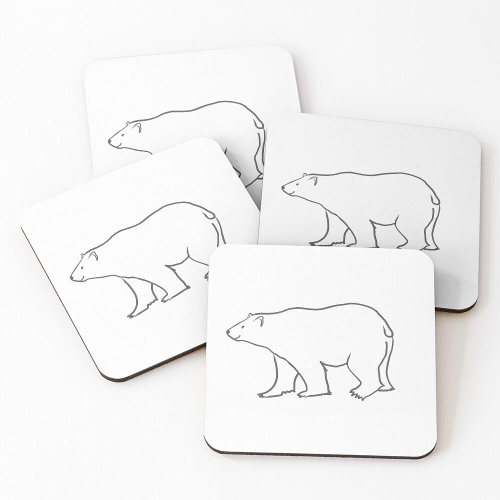 Bright White Polar Bear Coasters (Set of 4)