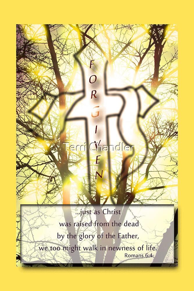 """Forgiven"" Cross of Jesus Yellow by Terri Chandler"
