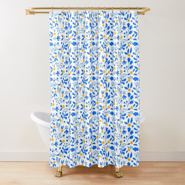 Blue Nature Pattern Shower Curtain