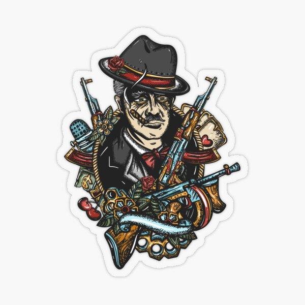 Mafia boss old school tattoo Transparent Sticker