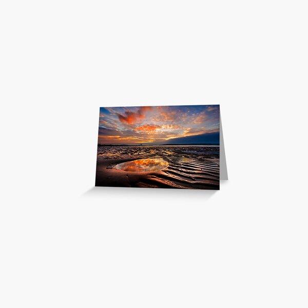 Largs Beach Sunset Sand Ripples Greeting Card