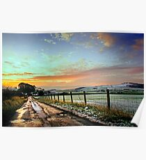 Sunset Wintry Country Lane Poster