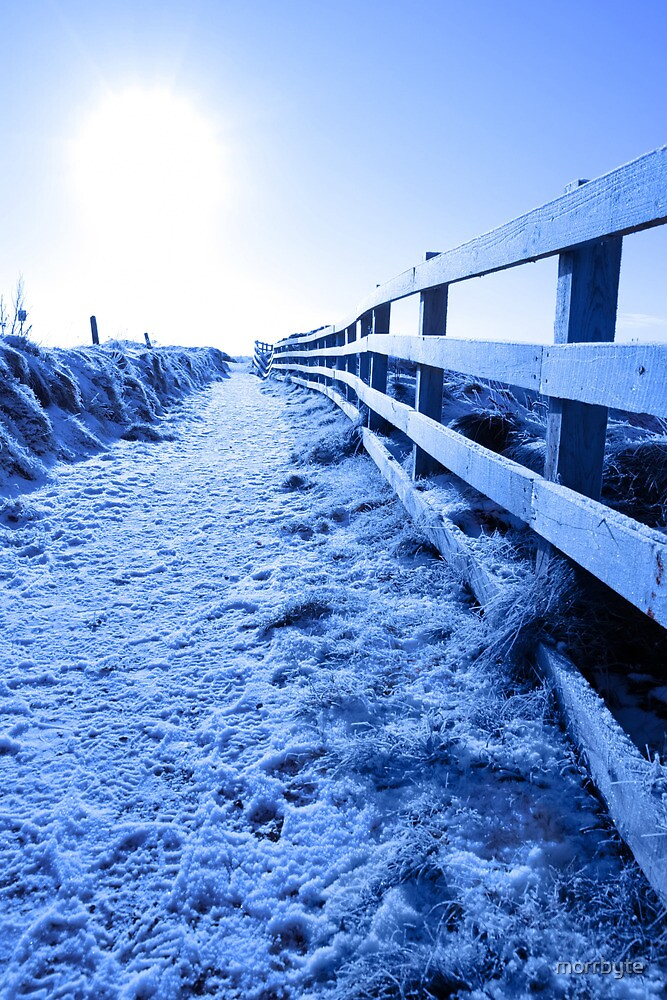 snow covered path on cliff fenced walk by morrbyte
