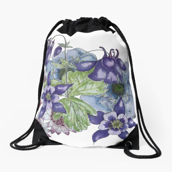 Purple Aquilegia watercolour bouquet Drawstring Bag