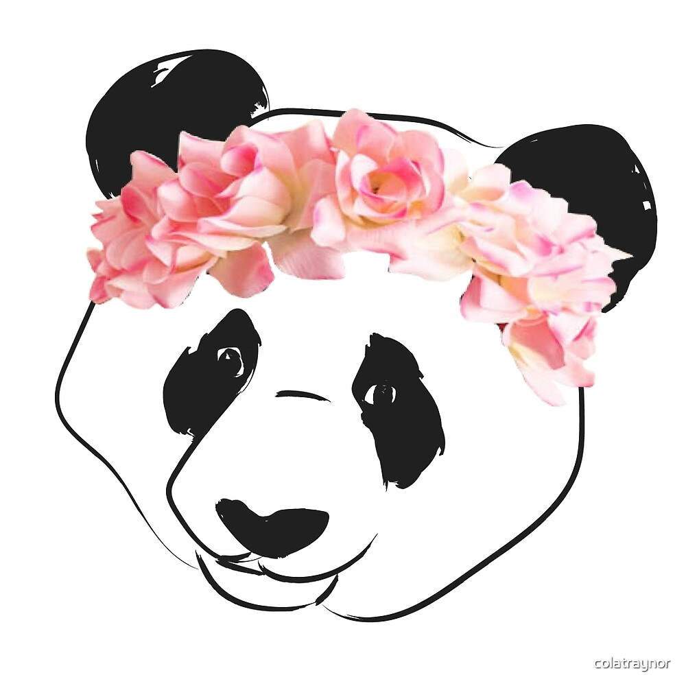Panda drawing with pink flower crown by colatraynor redbubble panda drawing with pink flower crown by colatraynor mightylinksfo Images