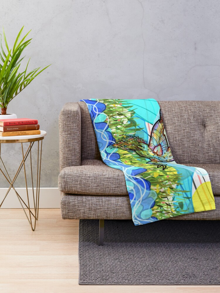 Alternate view of The bird and the river Throw Blanket