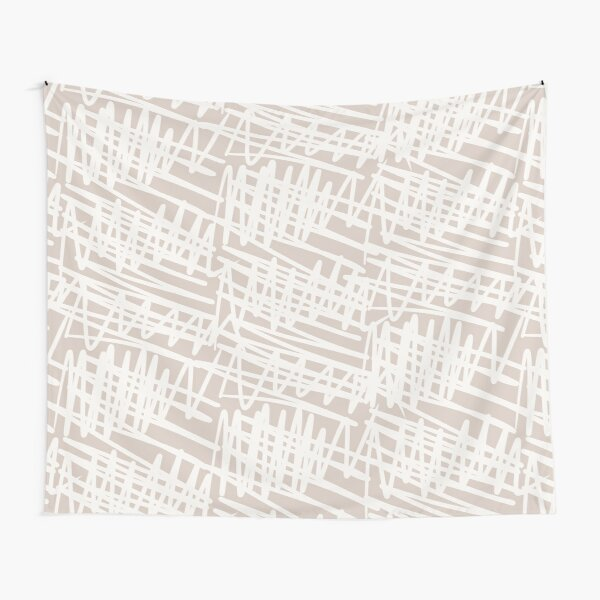 Scribbled Impatience | Neutral Line Pattern Tapestry