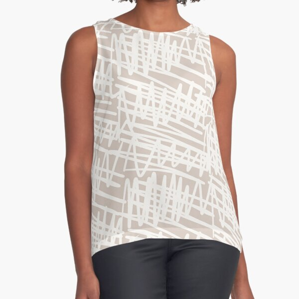 Scribbled Impatience | Neutral Line Pattern Sleeveless Top