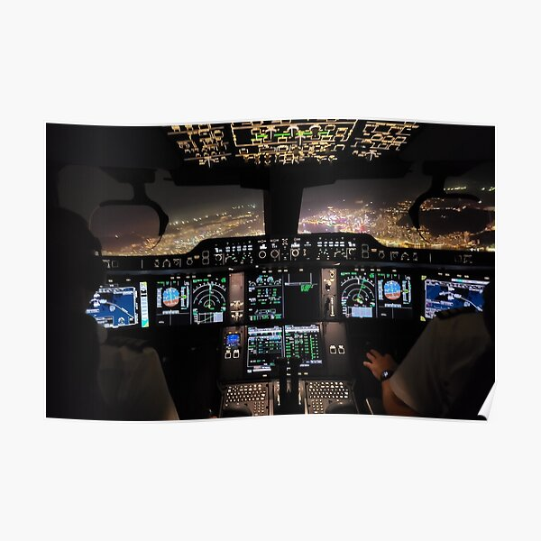 Airbus A350 -900 Cockpit out of Hong Kong Poster