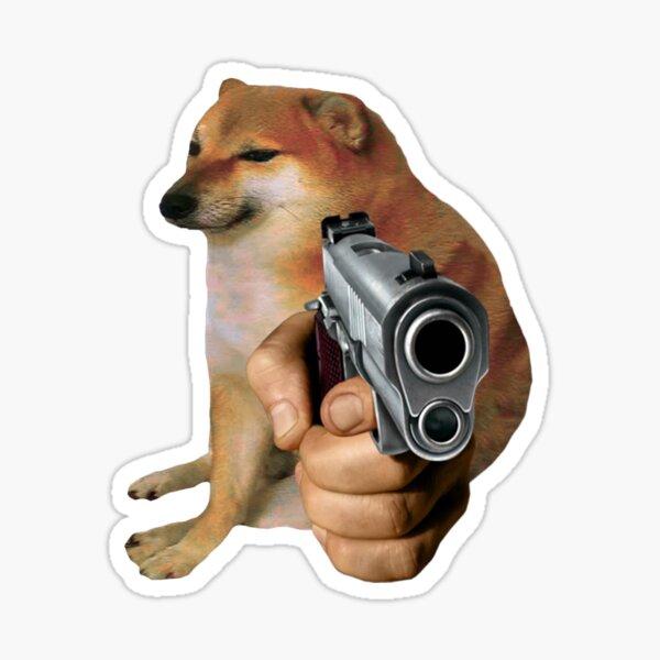 Cheems Doge Gun Pegatina