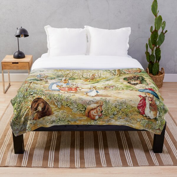 "Beatrix Potter Rabbit Family Illustration ""The Tale of Peter Rabbit"" Throw Blanket"