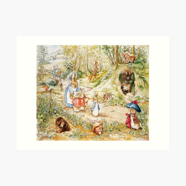 "Beatrix Potter Rabbit Family Illustration ""The Tale of Peter Rabbit"" Art Print"