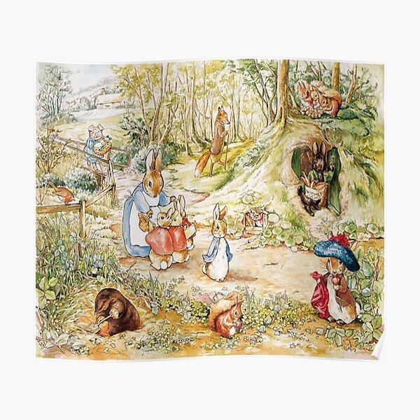 """Illustration de la famille Beatrix Potter Lapin """"Le conte de Peter Rabbit"""" Poster"""