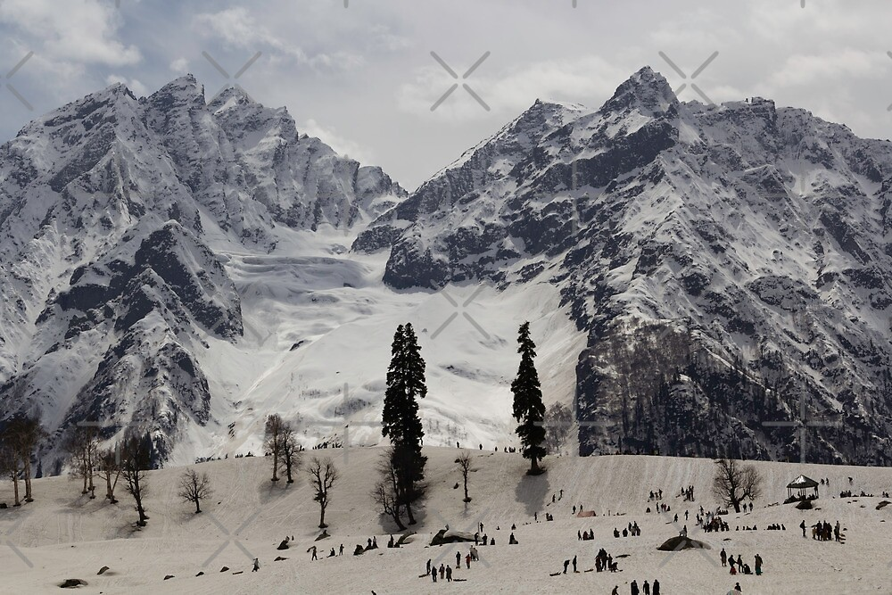 Tourists and locals on the snow and ice covered slope by ashishagarwal74