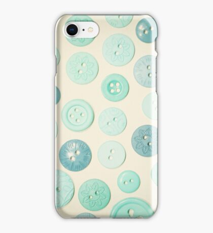 Vintage Blues Button Love iPhone Case/Skin