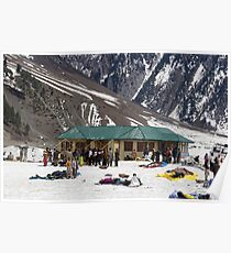 Tourists surrounded by snow and ice Poster