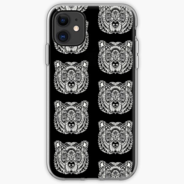 Bear grizzly tattoo iPhone Soft Case