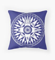 Nautical Compass | Navy Blue and White Throw Pillow
