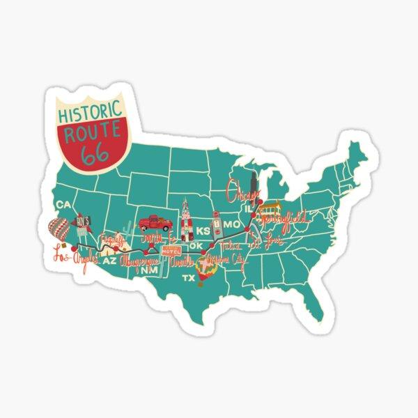 Carte historique de la Route 66 Sticker