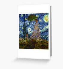 Monet Umbrella on a Starry Night Greeting Card