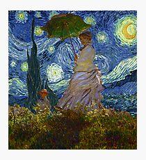 Monet Umbrella on a Starry Night Photographic Print