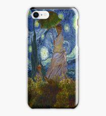 Monet Umbrella on a Starry Night iPhone Case/Skin