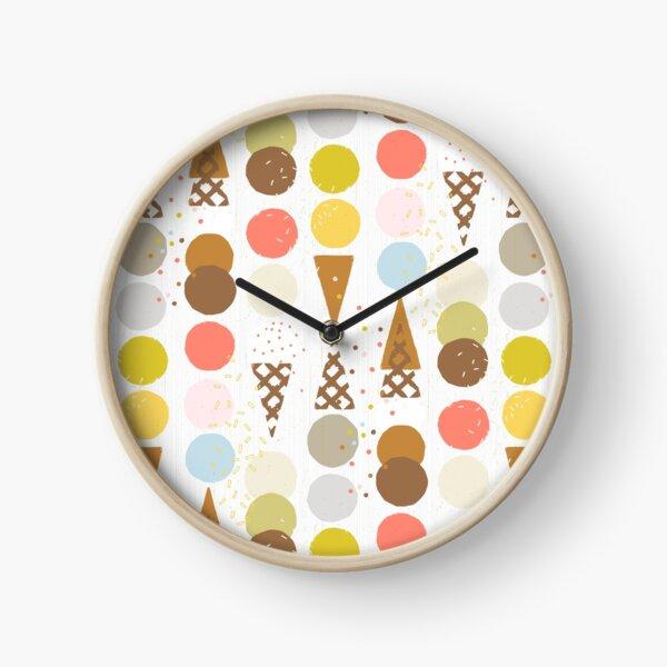 Ice Cream Cones M+M White by Friztin Clock