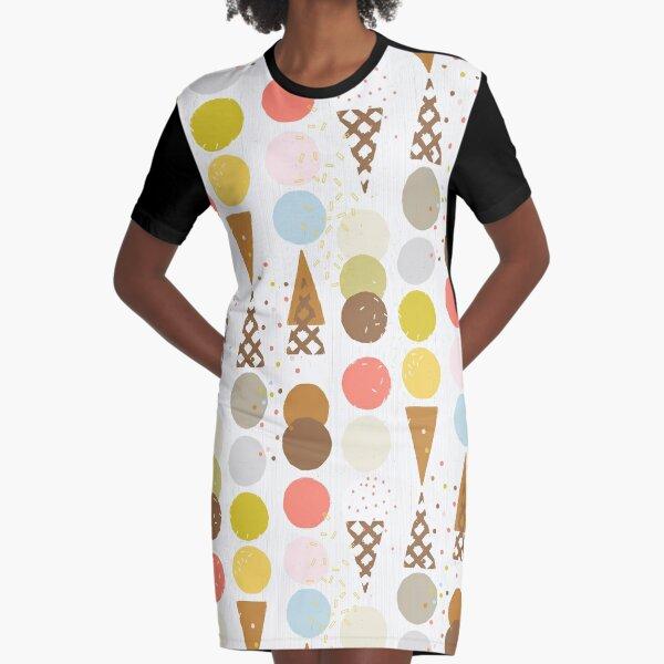 Ice Cream Cones M+M White by Friztin Graphic T-Shirt Dress